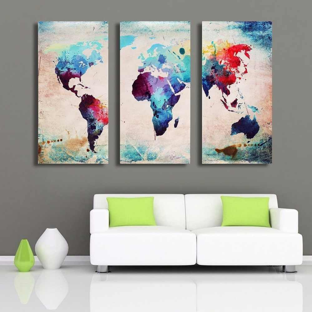 Home Decor HD Printed Living Room Abstract Pictures 3 Piece Color World Map Painting Wall Art Canvas Modular Poster PENGDA