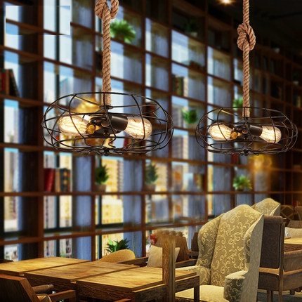 Loft Style Hemp Rope Creative Fan Droplight Edison Vintage Pendant Light Fixtures For Dining Room Hanging Lamp Indoor Lighting loft style wooden cask hemp rope droplight edison vintage pendant light fixtures for dining room hanging lamp indoor lighting
