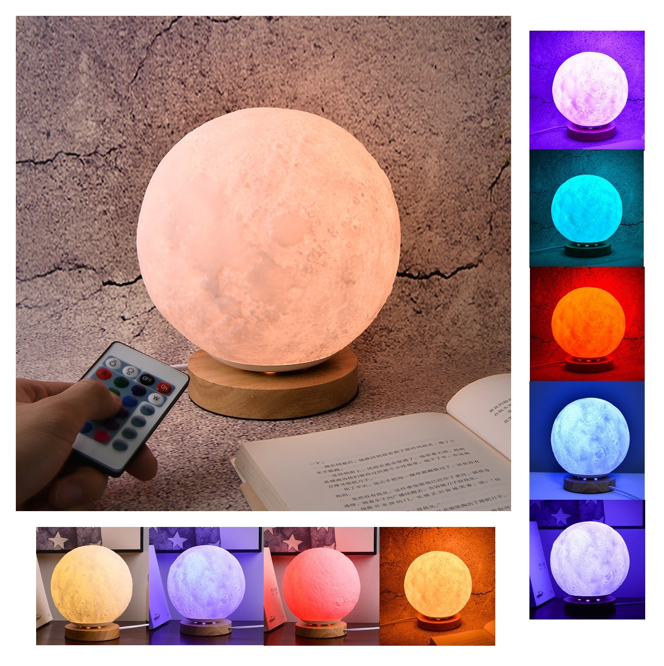 Rechargeable 3D Print Moon Lamp 7 Colors Change Remote Control Touch Switch Bedroom Night Light for Home Decor Creative Gift magnetic floating levitation 3d print moon lamp led night light 2 color auto change moon light home decor creative birthday gift