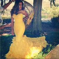 Hot 2016 Mermaid Long Yellow Prom Dresses Sweetheart Off Shoulder Formal Evening Party Gowns Dress Plus