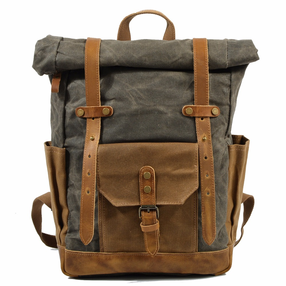 633e1069a459 OURONOK Vintage Men s Backpack Canvas Waterproof Travel Bag Leather Women  Rucksack College Weekend School Bags Leather Backpack
