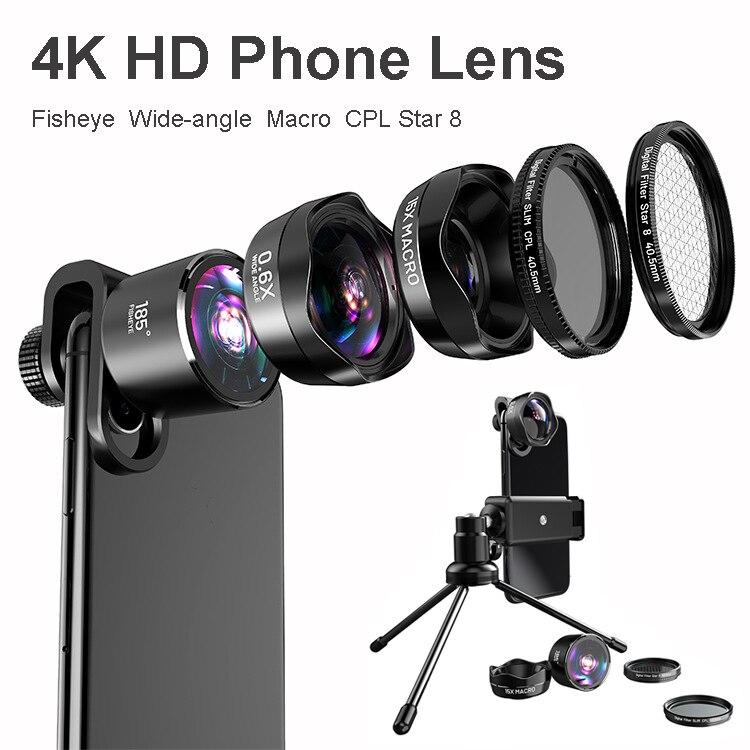 5in1 4 K HD Telefoon Camera SLR Lens Kits: foto Filter CPL & Star 8 & Statief + Awesome Fisheye & Groothoek & Macro Lenzen voor Smartphones - 6