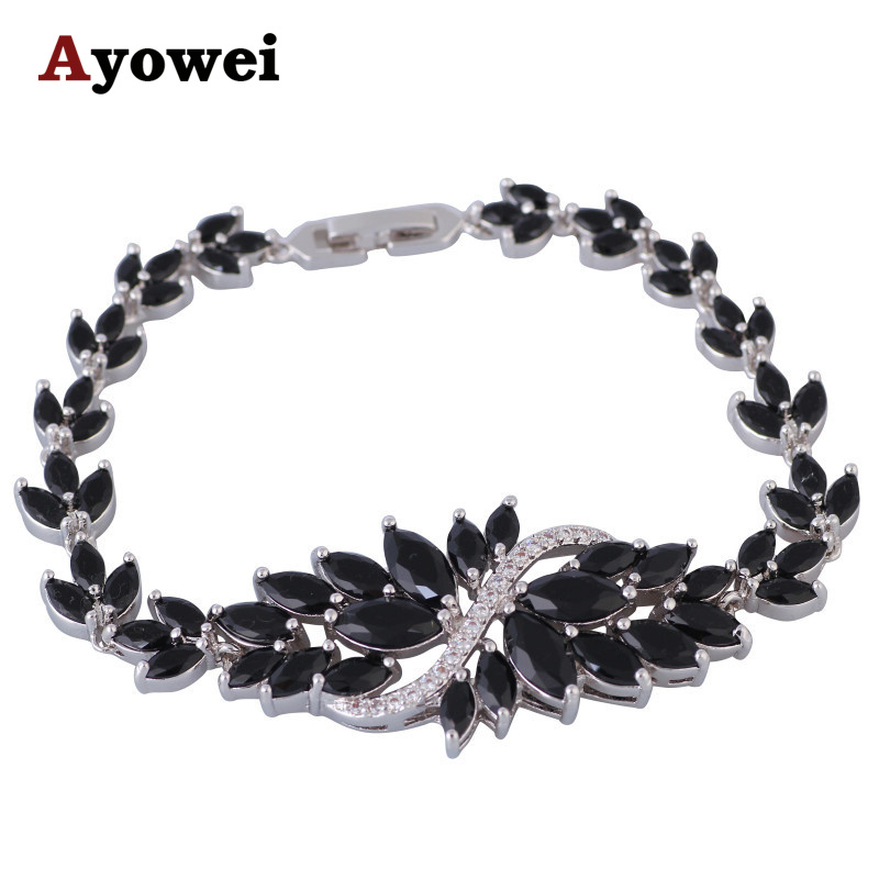 Mysterious Zircon Charm Bracelets for Women Gold Plate Black Friday Health Fashion Jewelry for Prom TB1054A