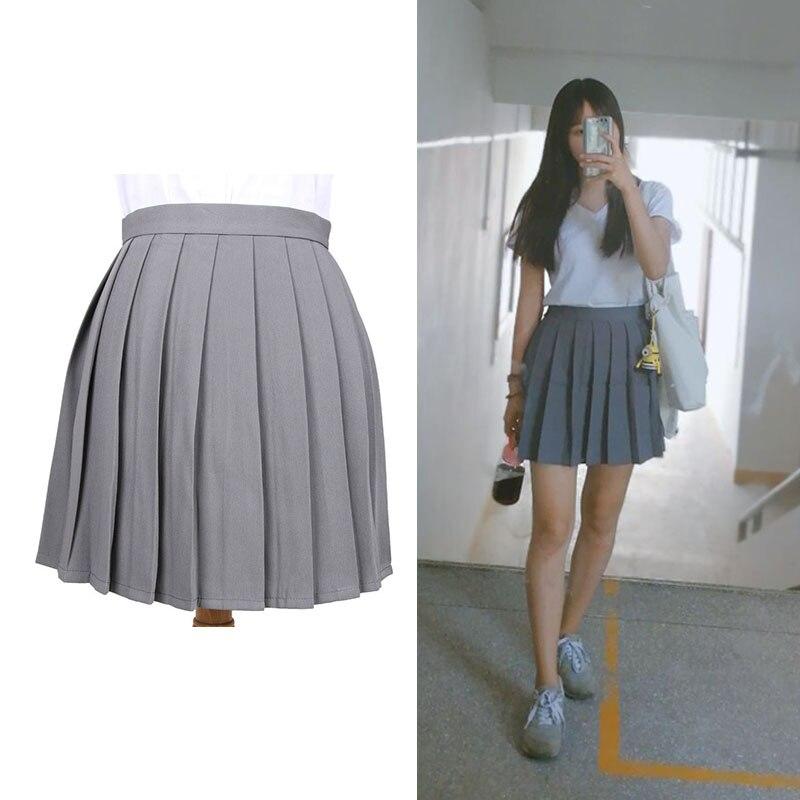 18 Colors Japanese School Student Uniform Skirt High Waist Pleated Skirt JK Girls Solid Skirts Anime LoveLive Cosplay Costume