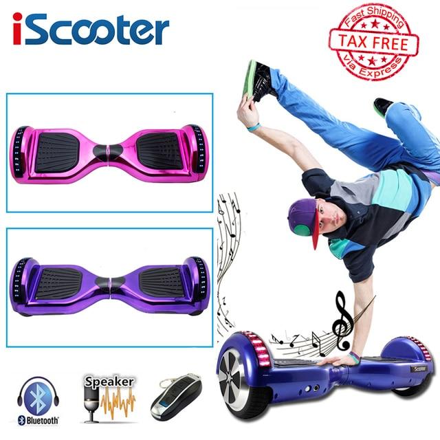 Iscooter hoverboard Электрический скейтборд с Bluetooth и пульт Smart два колеса самобаланс 6.5 дюймов gyroscooter есть UL2722