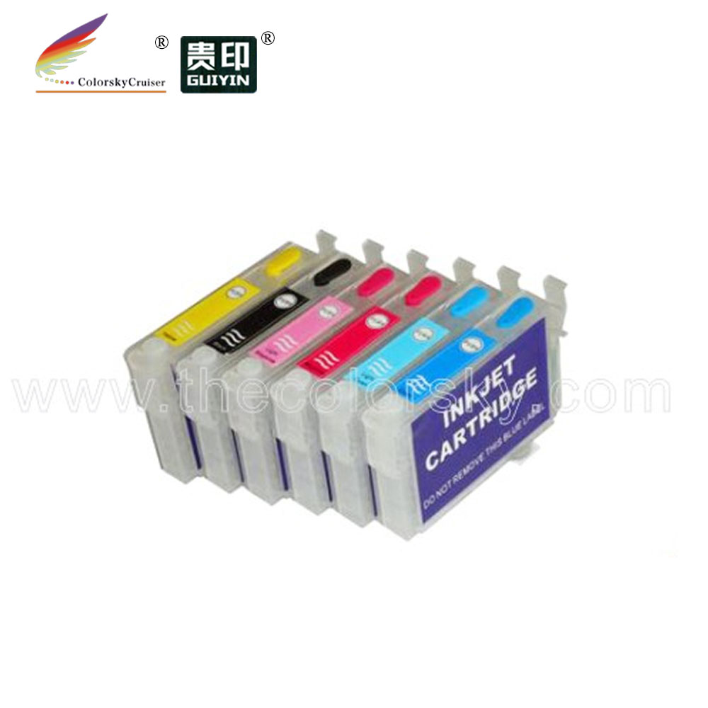 RCE-771-776) многоразовый картридж с чернилами для принтера Epson T0771-776 77 стилус фото R280 R380 ремесленника 50 bk/c/m/y/lc/lm DHL