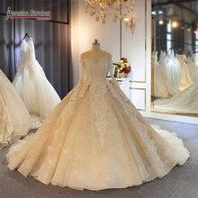Lüks şampanya rengi düğün elbisesi uzun tren ile müşteri siparişi renk ve boyutlarda