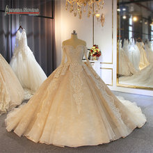 Luxury champagne color wedding dress with long train customer order color and sizes