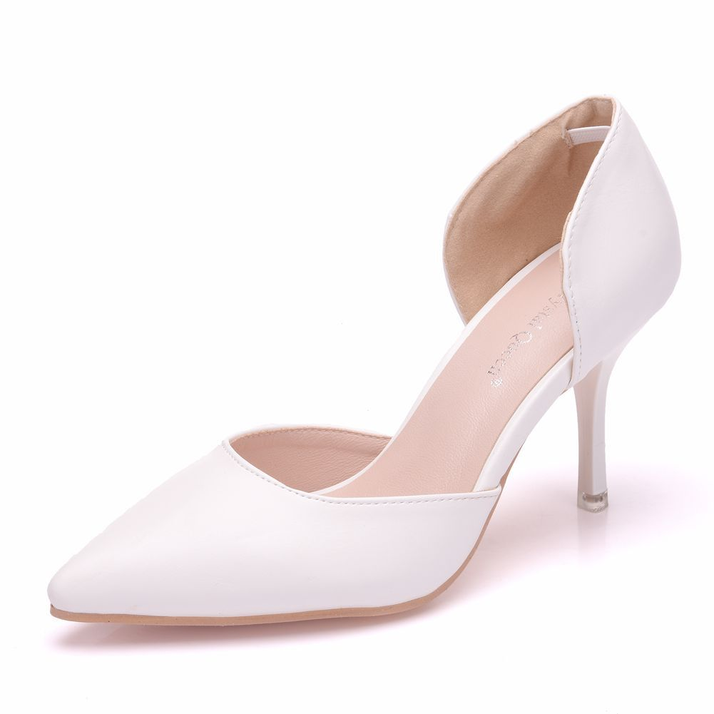e134fdcf13 High Heels Women Pumps Pointed Toe Leather White Wedding Shoes Slip ...