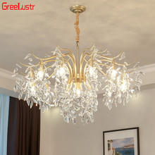 2019 Luxury Crystal Pendant Haning Light E14 LED  lustres de cristal indoor Light for Living Room Crystal Pendant Lamp 110V 220V new fashion chandeliers crystal pendant lamp light for living room bedroom 110v 24