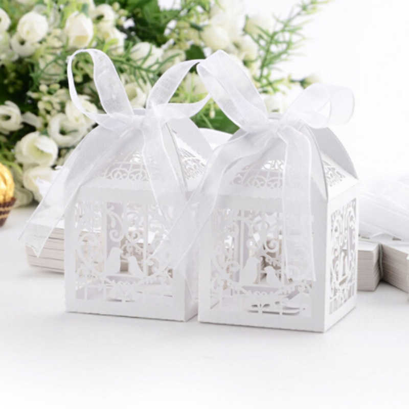 10 Pcs Hollow Mini Bird Cage DIY Candy Bags Cookie Gift Boxes with White Ribbon Romantic Wedding Party Favor Decor Supplies