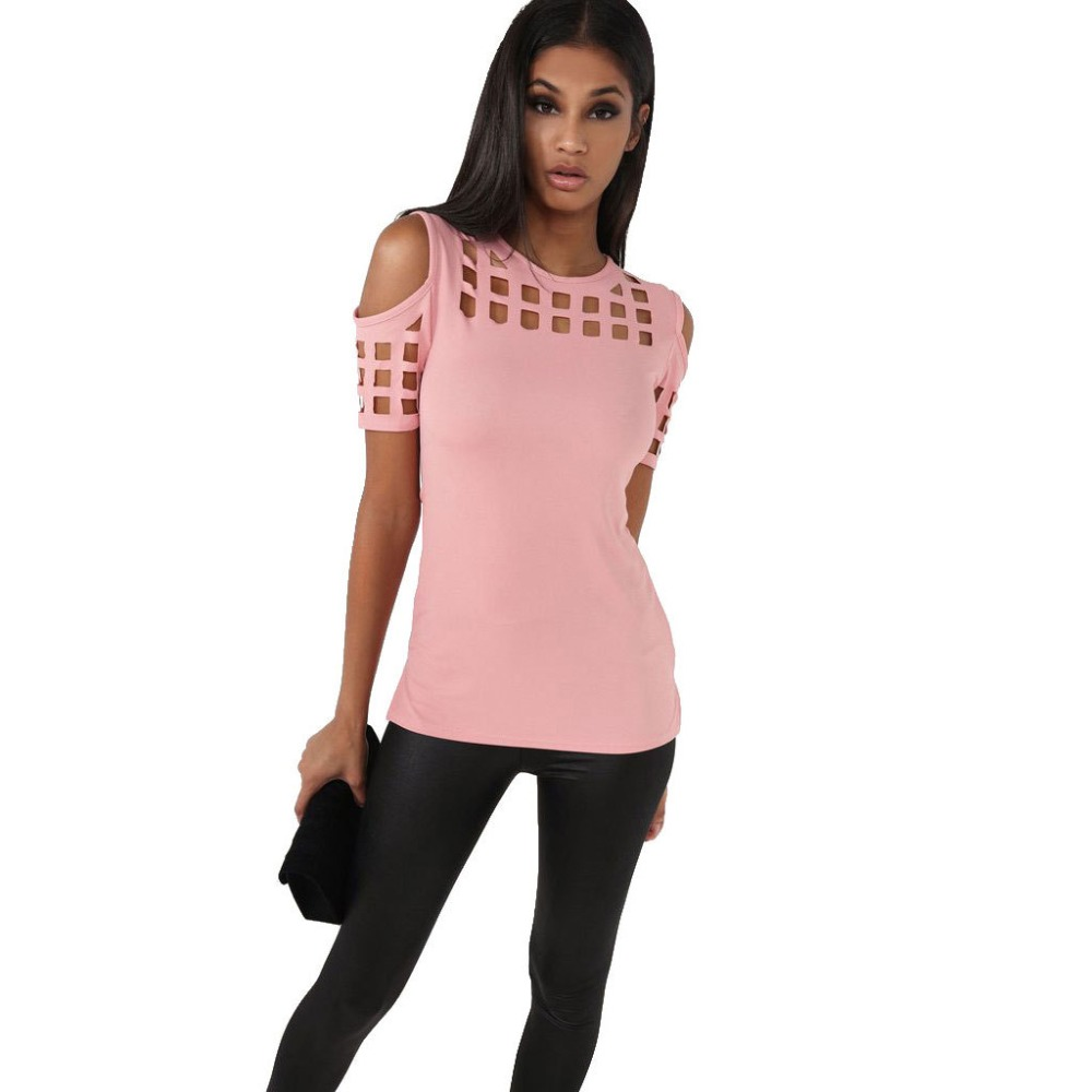 2017 Summer Blusas  Shirts Slim Hollow Out Shirts Plus Size Block Cold Shoulder Blouse Slim Blusa Feminino Women Tops LX235
