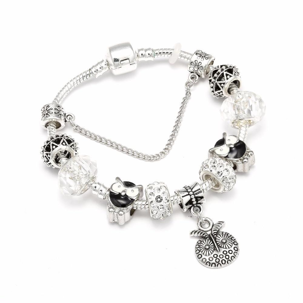 New Design Silver Lucky Charm Bracelet & Bangle with Owl Charms White Crystal Ball Brand Bracelet For Women Wedding Jewelry пандора браслет с шармами