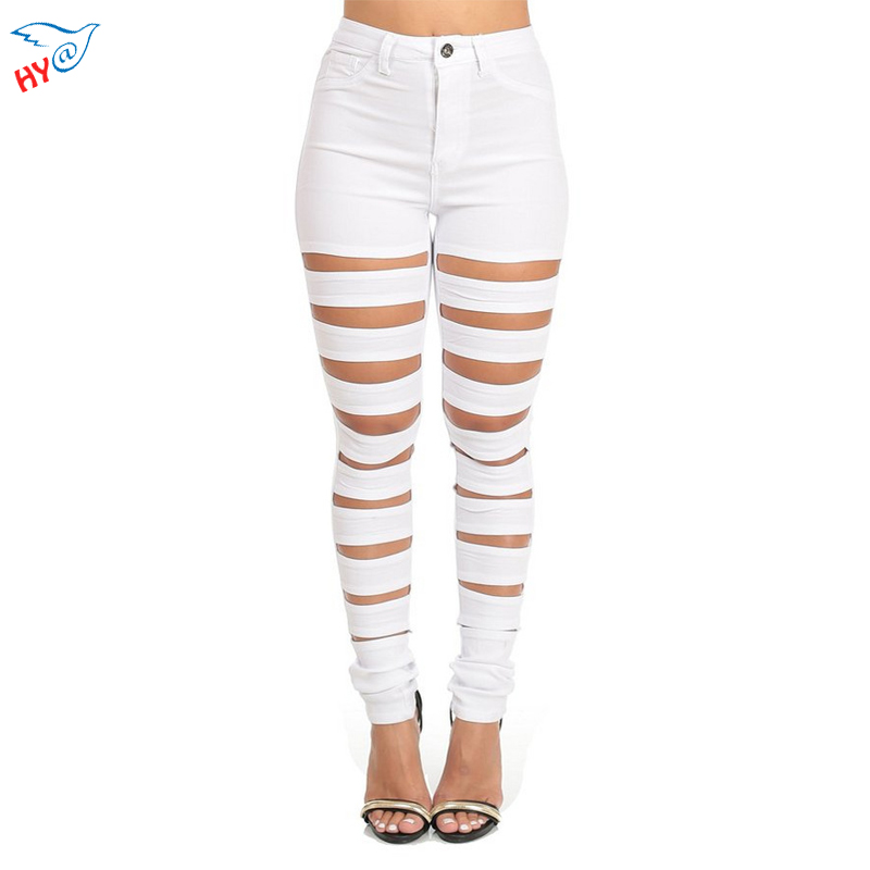 White Destroyed Ripped Pants Plus Size S-XL Women Pants Fashion 2016 Summer Ladies Casual Skinny Pants Trousers for Woman
