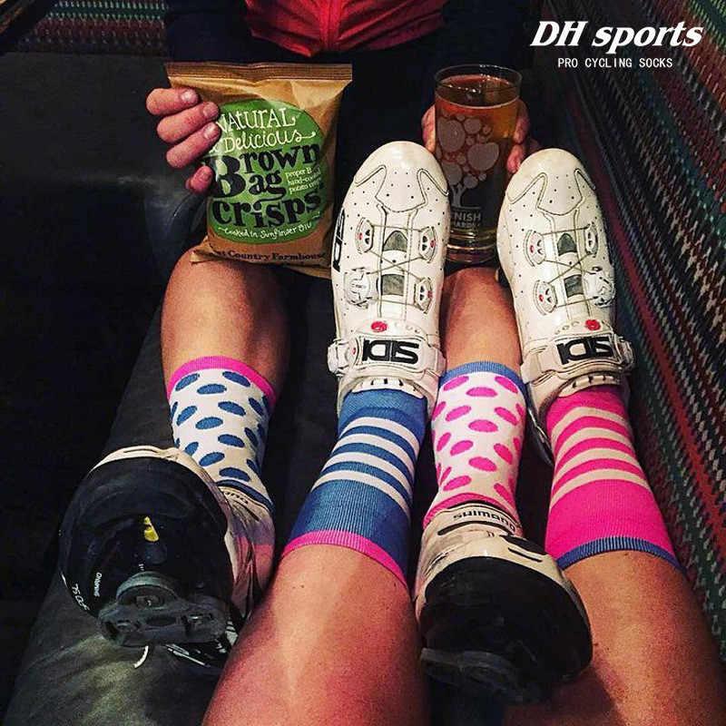DH 스포츠 압축 사이클링 양말 남성 여성 Professtional Road Racing 스포츠 양말 통기성 달리기 양말 calcetines ciclismo