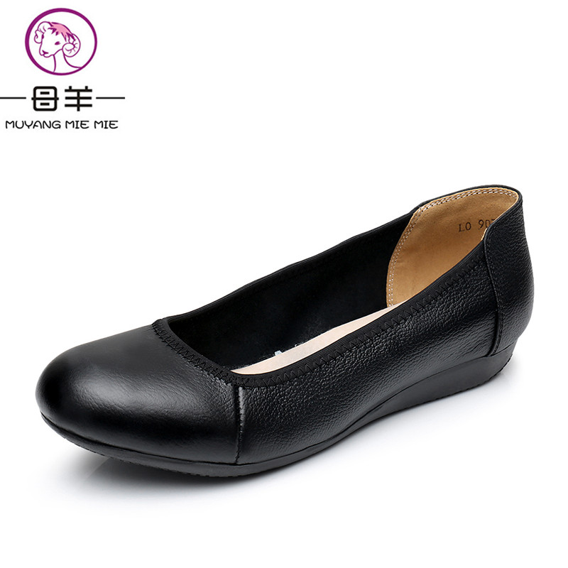 MUYANG MIE MIE Women Shoes Woman Genuine Leather Flat Work Shoes Woman Casual Loafers Fashion Black And White Colors Women Flats muyang mie mie women ballet flats plus size women shoes woman casual flat shoes genuine leather loafers ladies shoe women flats