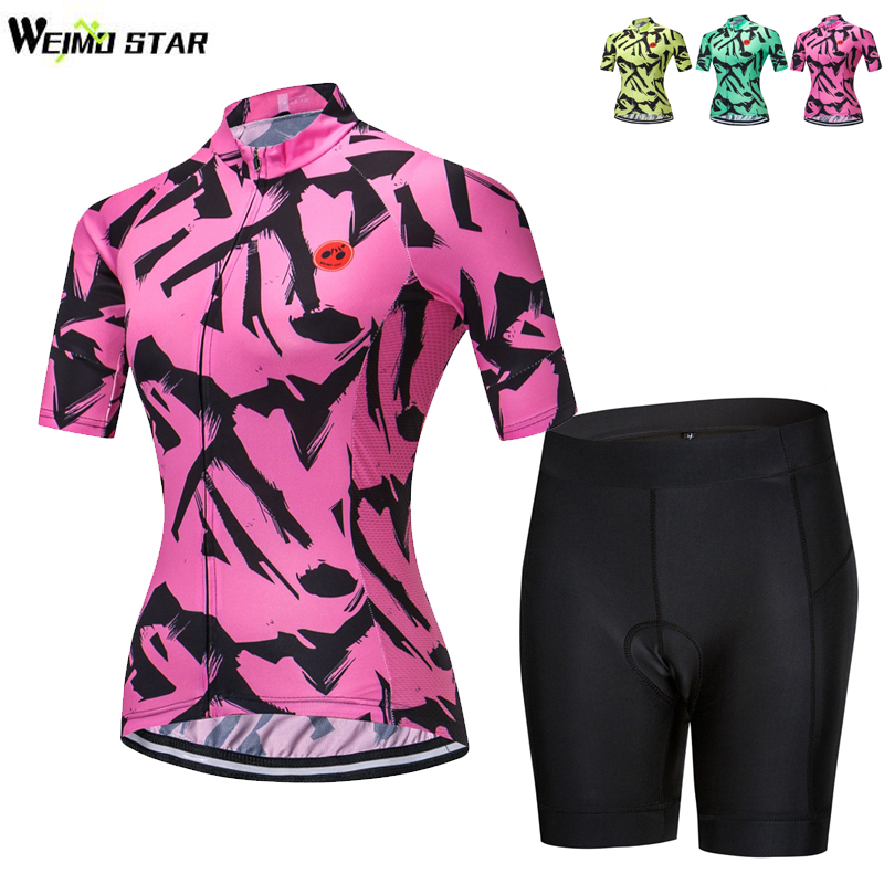 Weimostar Womens cycling jersey short set Roupa Ciclismo/Breathable Bicycle Cycling Clothing/Quick-Dry Racing mtb Bike Jersey