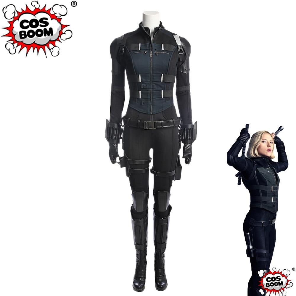COSBOOM Avengers: Infinity War Black Widow Costume Women Halloween Carnival Black Widow in Avengers Superhero Cosplay Costume
