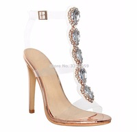 7ab1608ac2 ALMUDENA Sweet Trendy Clear Heel Bling Bling Beaded Sandals See Through Pvc  Strappy Sandal Boots Gem