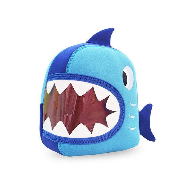 TOURIT Waterproof School Bags Blue 3D Shark Kids Baby Bags Cartoon Animal  Children School Backpack Bags