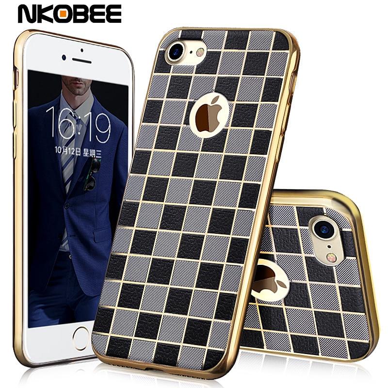 Caso de lujo para iphone 7 7 nkobee además de la tela escocesa transparente de s
