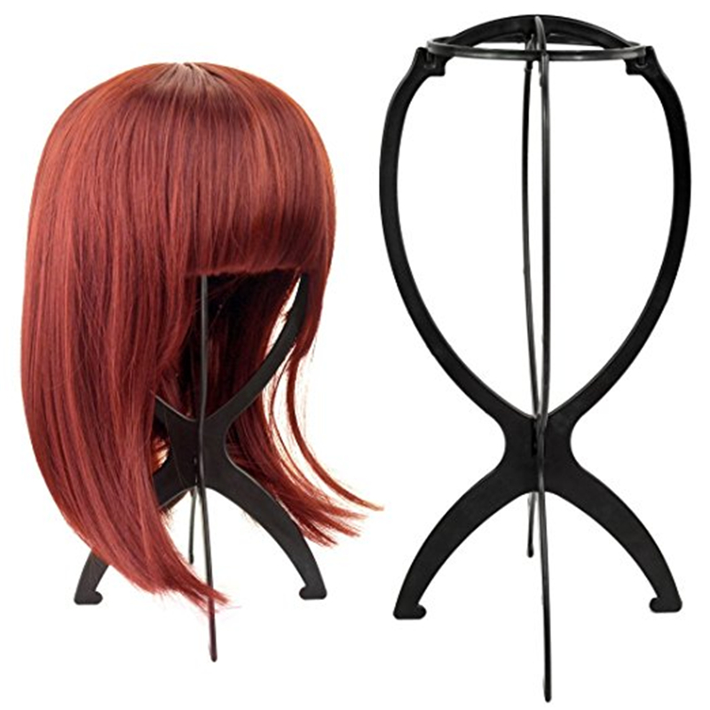 Wig Stands Plastic Hat Display Wig Head Holders 1PC Mannequin Head/Stand Portable Folding Wig Stand Black