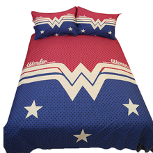 Wongs Hot Wonder Woman Bedding Set Cotton Blend Duvet Cover Red Blue Bed Sheet Single Queen King Size Bedlinen Bedclothes 3/4PCS