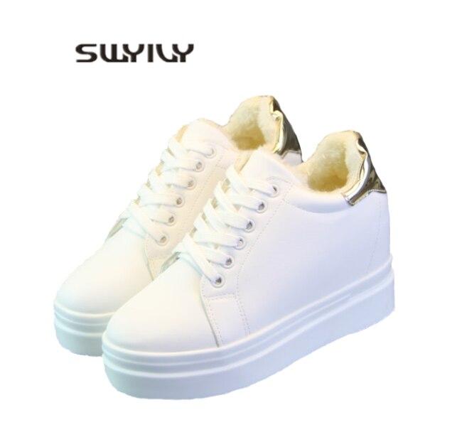 SWYIVY beyaz Sneakers ayakkabı kadın 2019 bahar yeni öğrenci platformu yüksek topuk rahat ayakkabılar moda kadın Sneakers gizli topuk