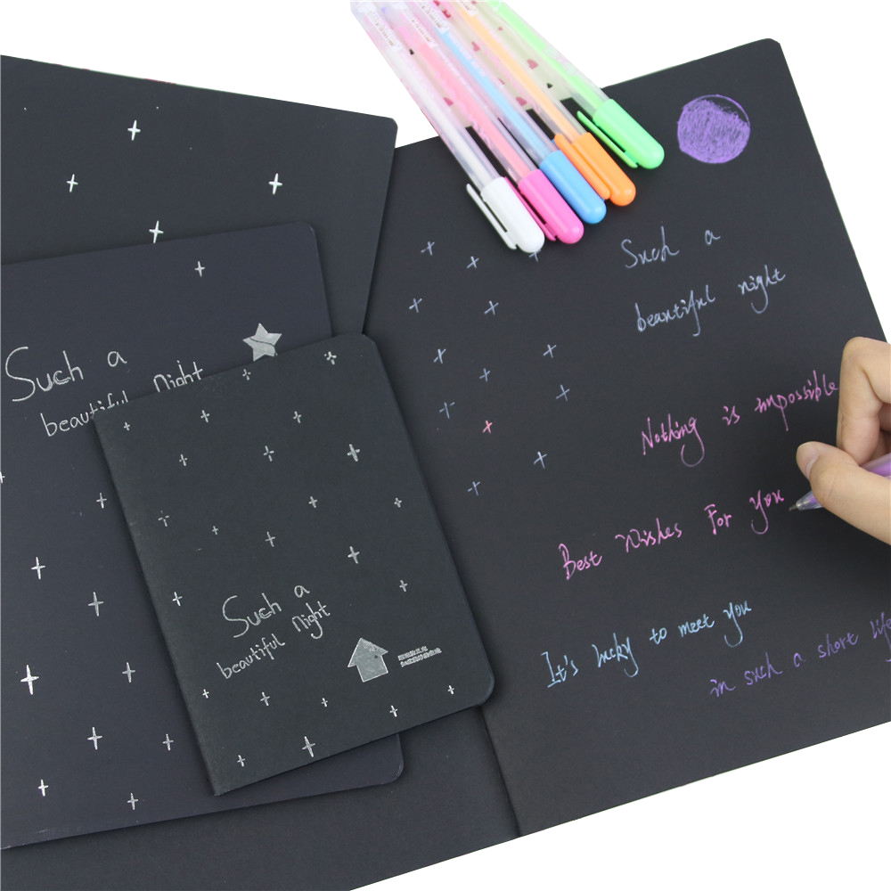 1 Notebook Diary Black Paper Notepad 16K 32K 56K Sketch Graffiti Notebook For Drawing Painting Office School Stationery Gifts