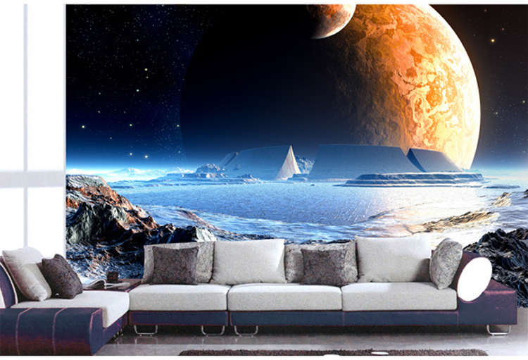 Free Shipping 3D Stereoscopic Large Mural Wallpaper Universe Star TV Room Living Bedroom Sofa Background