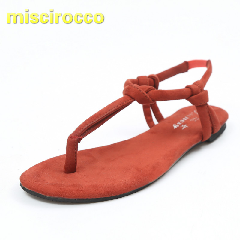 Women's Sandals Woman Shoes Beach-Slippers Knot Summer Flat Basic-Style Anti-Skid