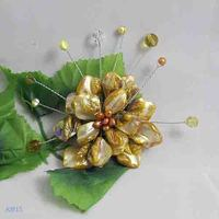 Unique Pearls jewellery Store,Handmade Natural Freshwate Pearl Real Shell Crystal Beads Brooch,Yellow Color Flower Brooches