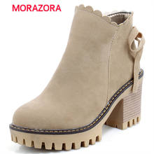 MORAZORA big size autumn winter square heel ankle boots for women cow suede leatehr boots round toe high heel platform boots(China)
