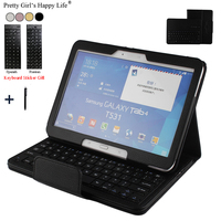 For Samsung Galaxy Tab 4 10.1 T530 Wireless Bluetooth Keyboard Case For Galaxy Tab 4 10.1 Tablet Flip Leather Stand Cover+Stylus