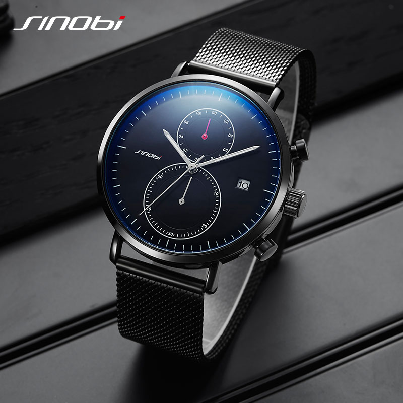 02f34cb3026 SINOBI Chronograph Quartz Men Watch Luxury Brand Stainless Steel Business  Wrist Watches Men Clock Hour Time