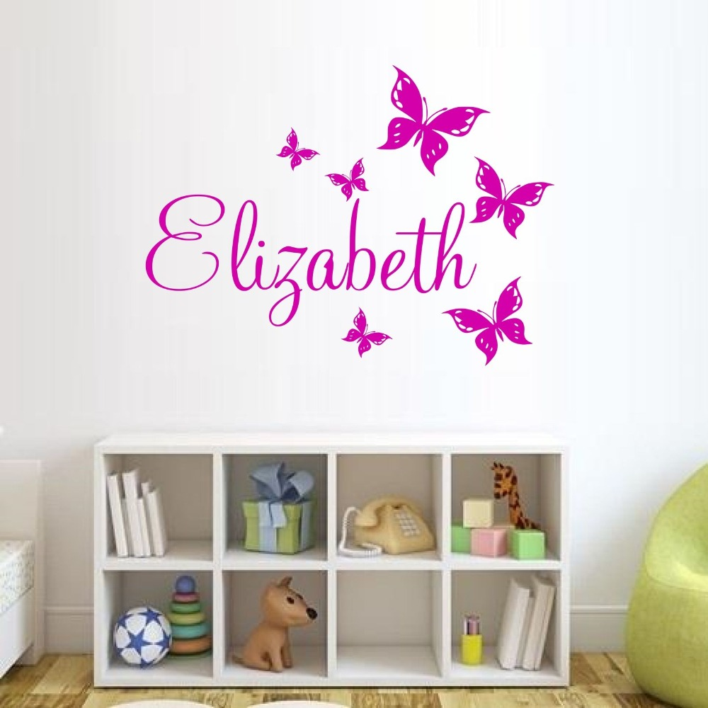 Custom Made Butterfly Personalized Wall Sticker Name Vinyl Wall Sticker Wall  Art Decal You Choose Name And Color In Wall Stickers From Home U0026 Garden On  ...