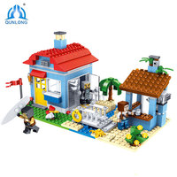 470PCS MY World Beach House 3 Models Building Blocks Sets Compatible LegoINGLY Minecrafted Creator Bricks DIY Toys For Children