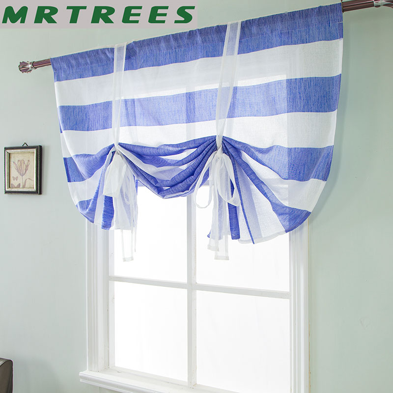 MRTREES Striped Short Curtains Tulle For Kitchen Bedroom