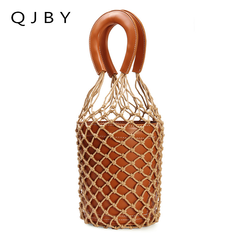 beach bag nets bucket bags hollow bao bao women summer totes bag 2018 new fashion high quality white brown red white pink color famous brand unique design beach bag nets bucket bags female handbags hollow bao bao women shoulder bags summer totes bag tassel
