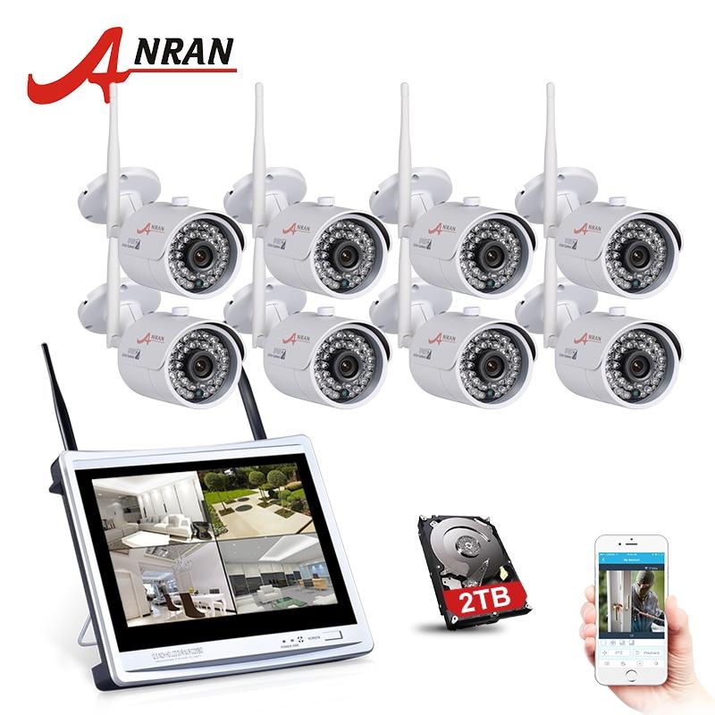 ANRAN 8CH Wireless Surveillance System 12 LCD NVR Kit P2P 720P HD IR WIFI IP Camera Outdoor Security Camera System 2TB HDD система видеонаблюдения anran security 2 hdd 8 nvr onvif 1080p hd h 264 ir ip 8ch hk02w ip2 0 4