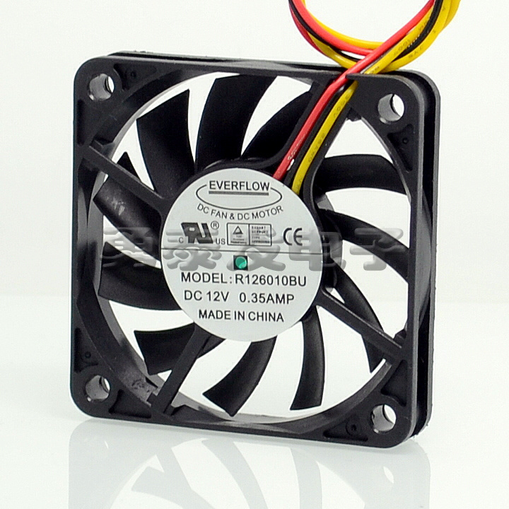 6cm Everflow R126010BU 6010 12V 0.35A <font><b>60</b></font>*<font><b>60</b></font>*10 <font><b>MM</b></font> double ball cooling <font><b>fan</b></font> image