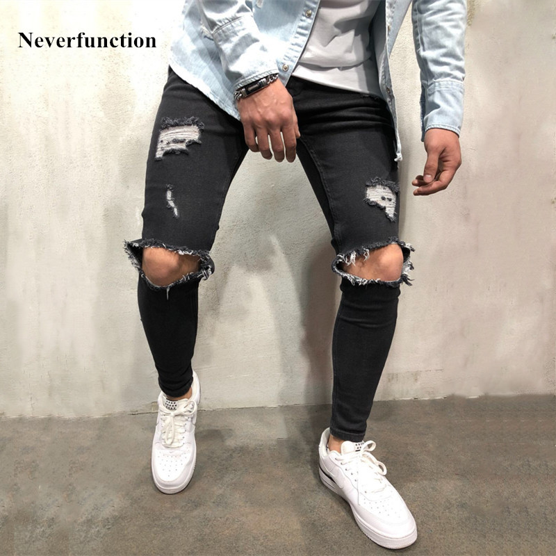 High quality stretch men Knee Ripped Skinny   jeans   urban clothing punk korean blue black denim designer distressed Joggers Pants