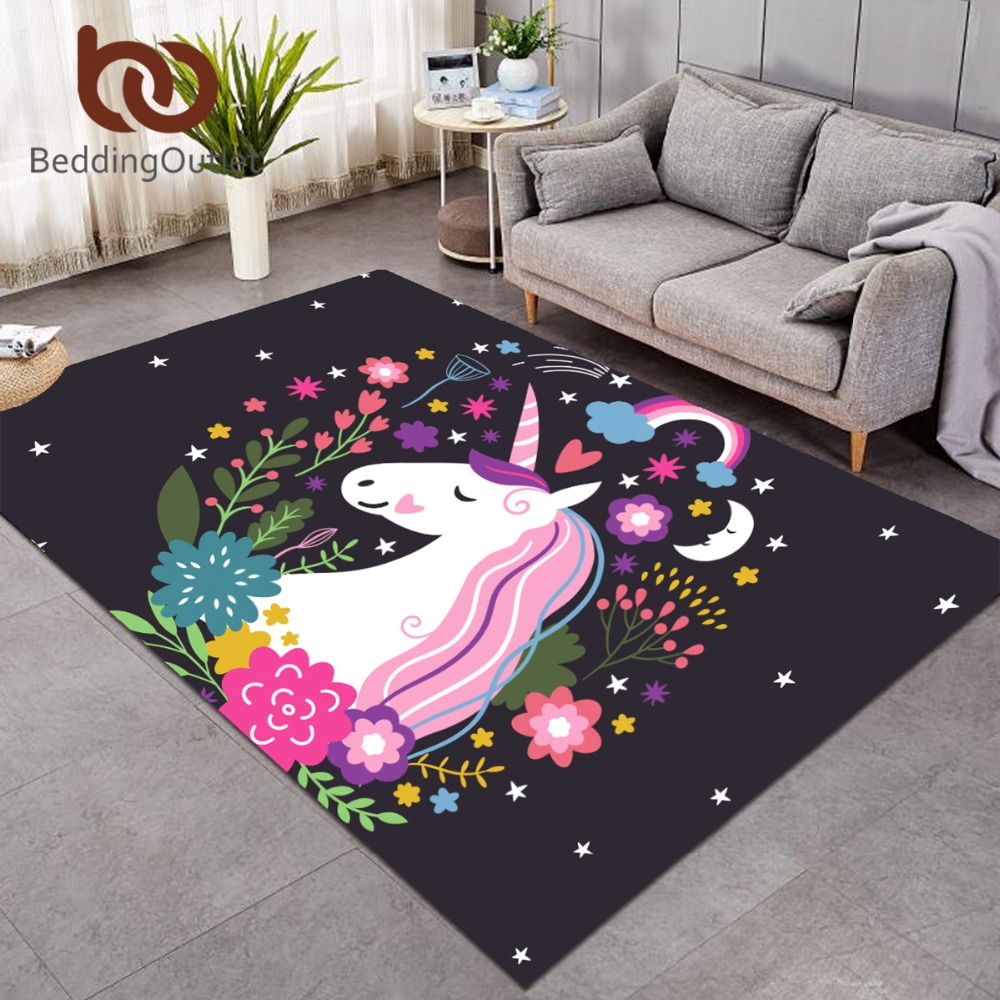 BeddingOutlet Rainbow Unicorn Large Carpets For Living Room Cartoon Rectangle Area Rug For Kids Bedroom Non-slip Floor Mat Decor