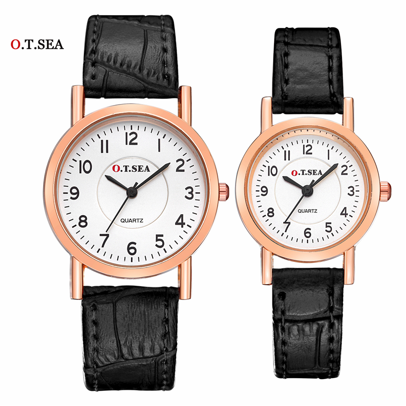 Lovers Watch Luxury O.T.SEA Brand Leather Pair Watches Couple Watch For Women Men Quartz Wrist Watches Clock
