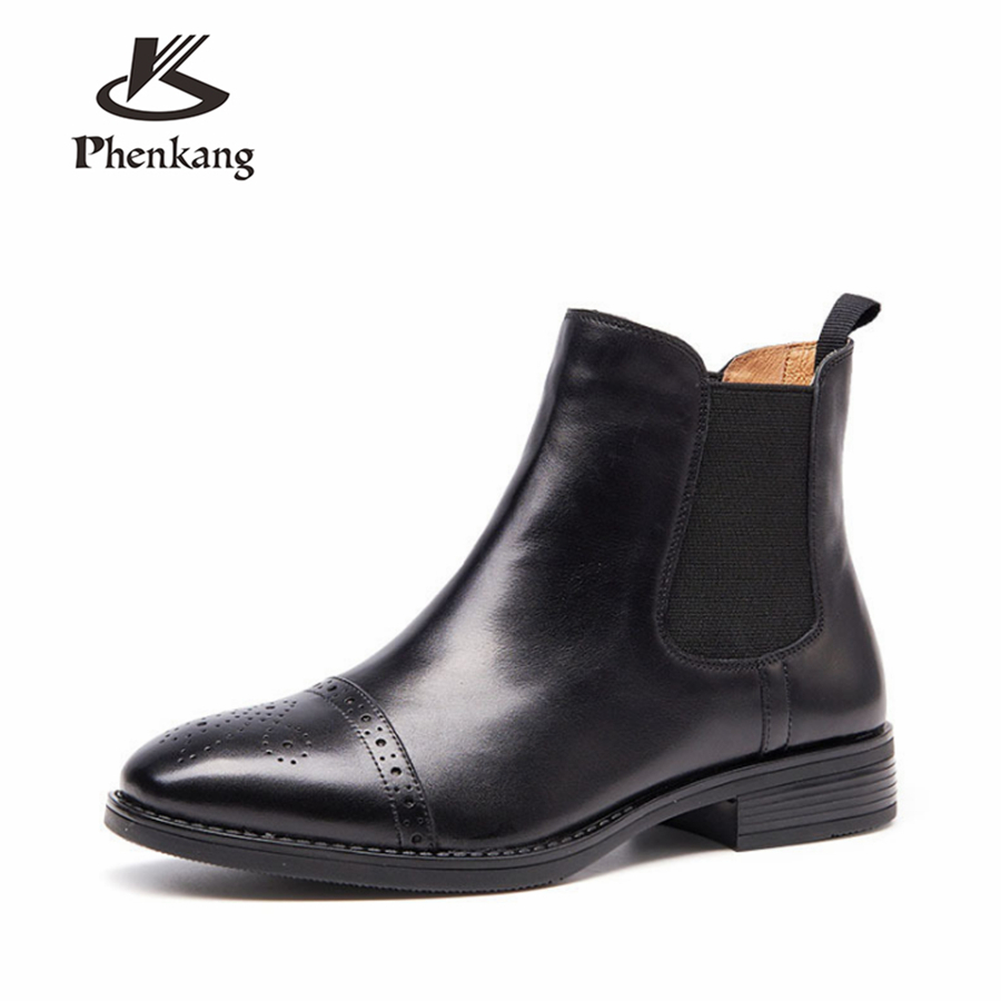 วัวแท้หนังข้อเท้าเชลซีรองเท้าผู้หญิงที่มีคุณภาพสะดวกสบายรองเท้านุ่มออกแบบแฮนด์เมด2018ฤดูหนาวสีดำสีน้ำตาลด้วยขน-ใน รองเท้าบูทหุ้มข้อ จาก รองเท้า บน   2