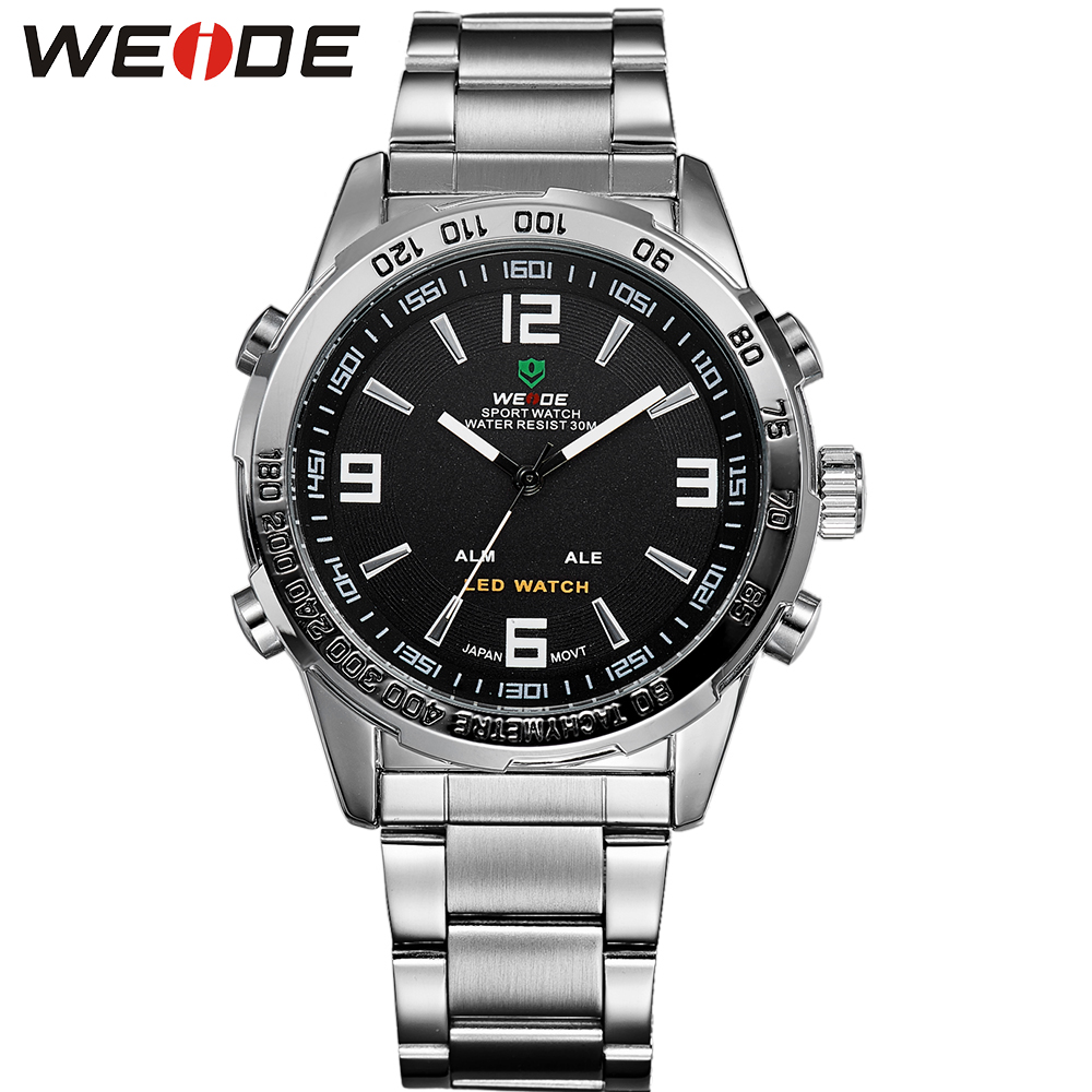 ФОТО WEIDE LED Analog Stainless Steel Wrist Watches Men Quartz Digital Movement Sport Series 3ATM Waterproof Multi-Functional Watch