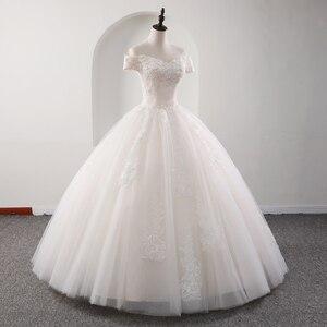 Image 3 - Fansmile 2020 رداء دي ماريج الأميرة الأبيض الكرة فساتين الزفاف Vestido De Noiva حجم كبير مخصص فساتين الزفاف FSM 564F
