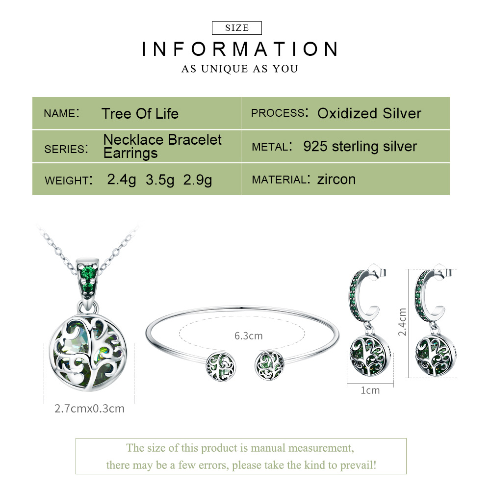 BAMOER authentique 925 en argent Sterling ensembles arbre de vie vert cristal AAA CZ bijoux ensemble en argent Sterling bijoux cadeau ZHS053 - 2