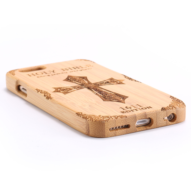 Wolf Carved Bamboo Wood Hard Phone Case for iPhone