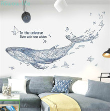 Creative DIY Abstract Whale Sticker Living Room Personality Background Transformation Bedroom Decoration Wall Tile PVC